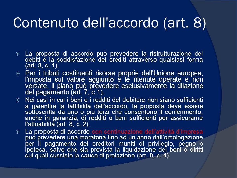Contenuto dell accordo (art. 8)