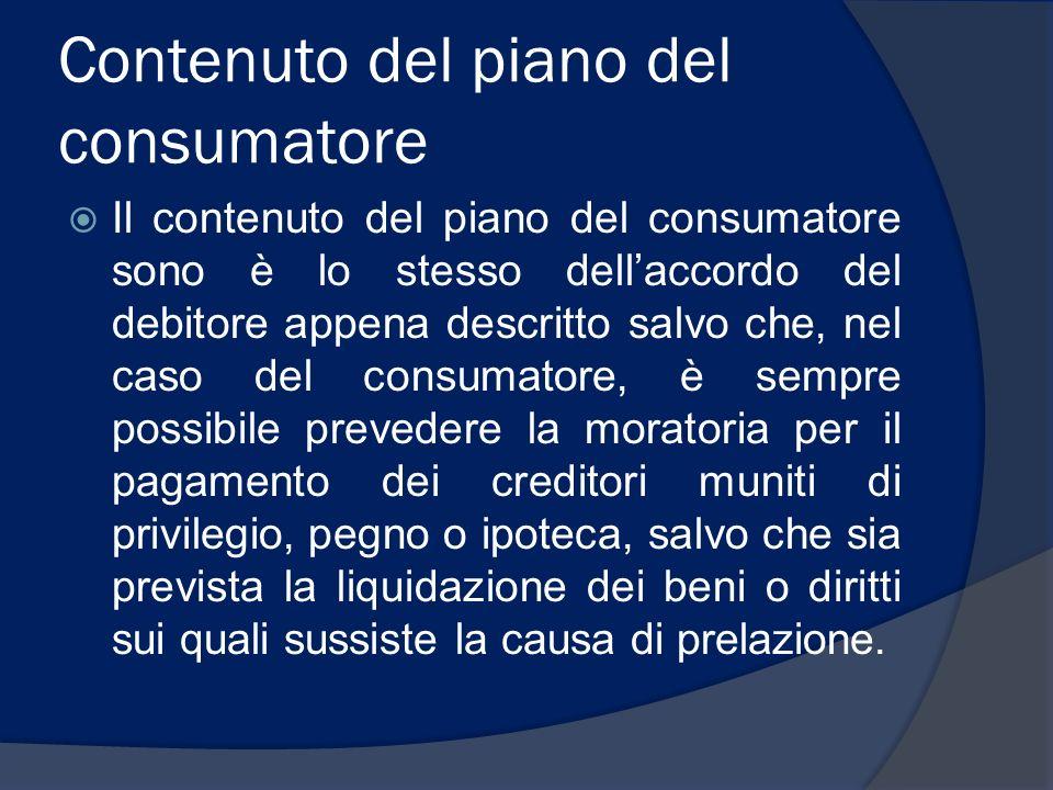 Contenuto del piano del consumatore