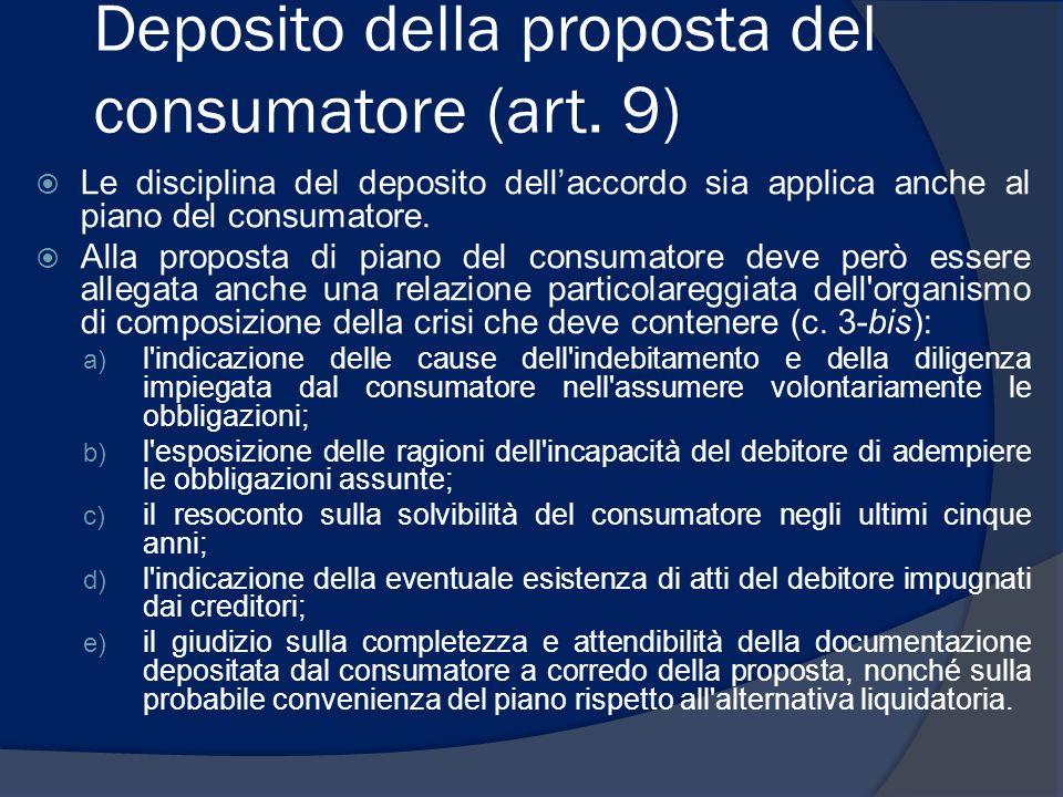 Deposito della proposta del consumatore (art. 9)