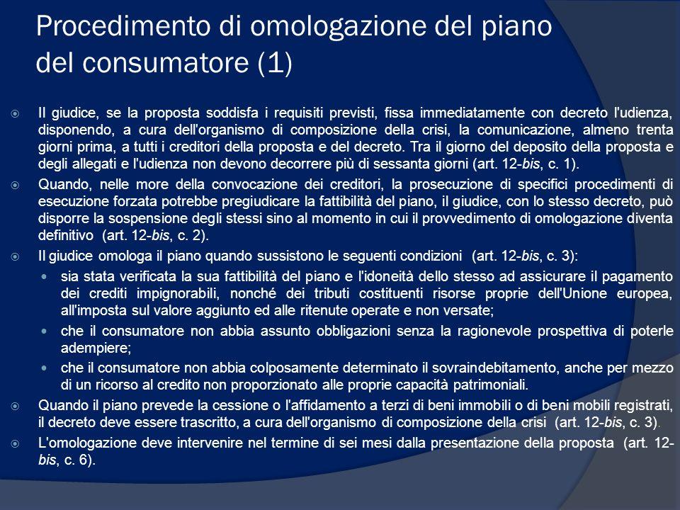 Procedimento di omologazione del piano del consumatore (1)