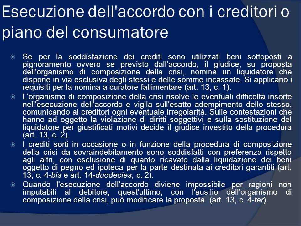 Esecuzione dell accordo con i creditori o piano del consumatore