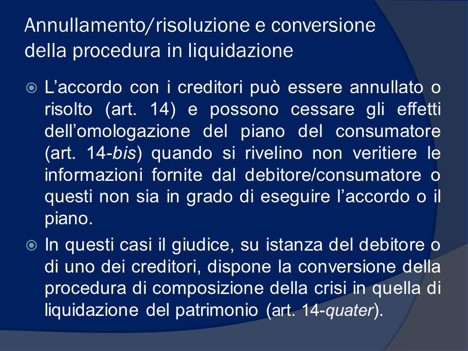Annullamento/risoluzione e conversione della procedura in liquidazione