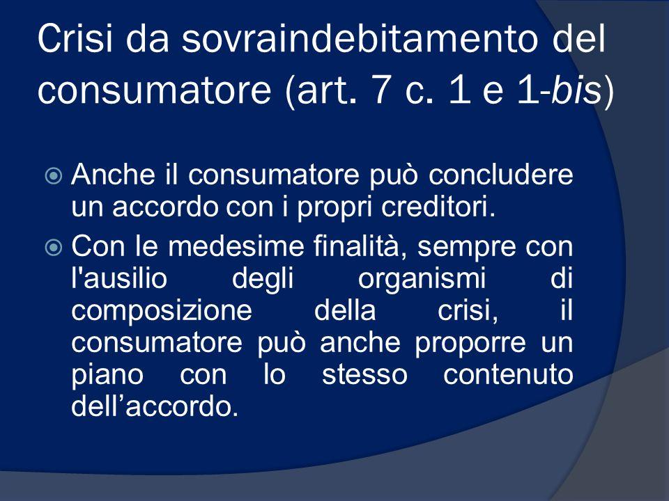 Crisi da sovraindebitamento del consumatore (art. 7 c. 1 e 1-bis)