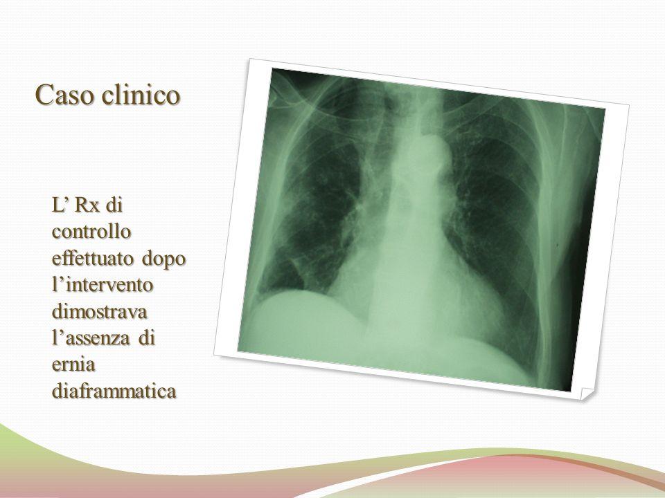 Caso clinico L' Rx di controllo effettuato dopo l'intervento dimostrava l'assenza di ernia diaframmatica.