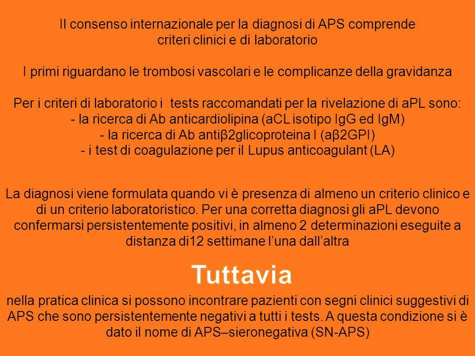 Tuttavia Il consenso internazionale per la diagnosi di APS comprende
