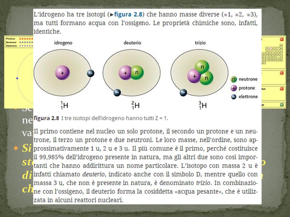 Gli isotopi Sappiamo già dallo scorso anno che atomi di uno stesso elemento hanno lo stesso numero di protoni.