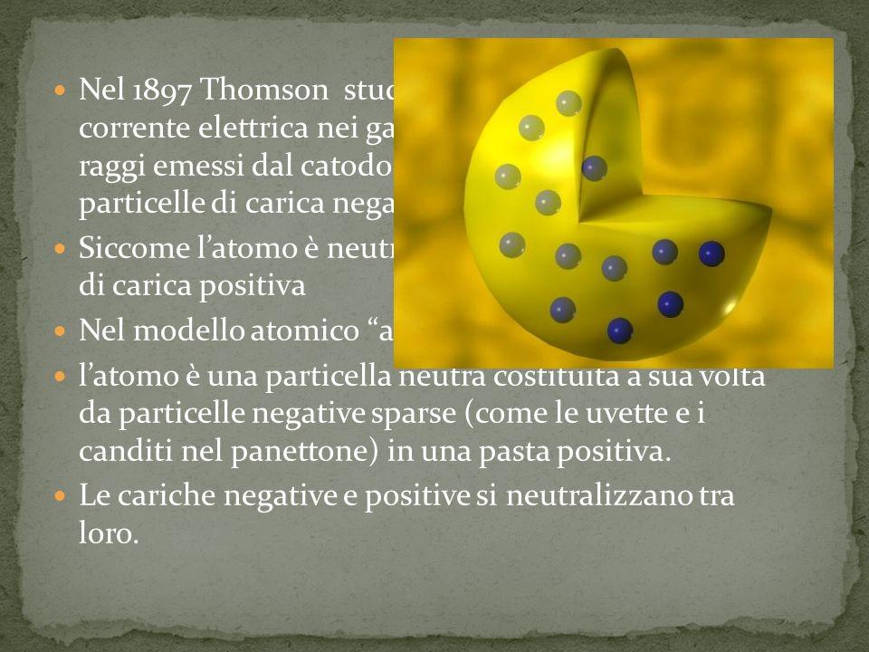 Nel 1897 Thomson studiando il passaggio della corrente elettrica nei gas rarefatti, dimostra che i raggi emessi dal catodo (raggi catodici) sono particelle di carica negativa