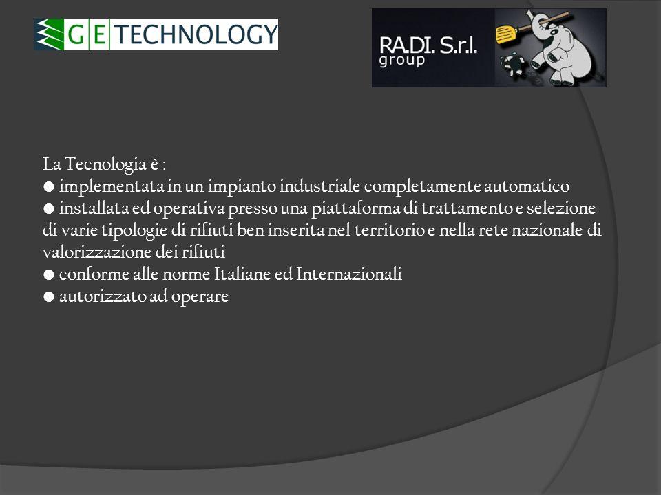 La Tecnologia è : implementata in un impianto industriale completamente automatico.