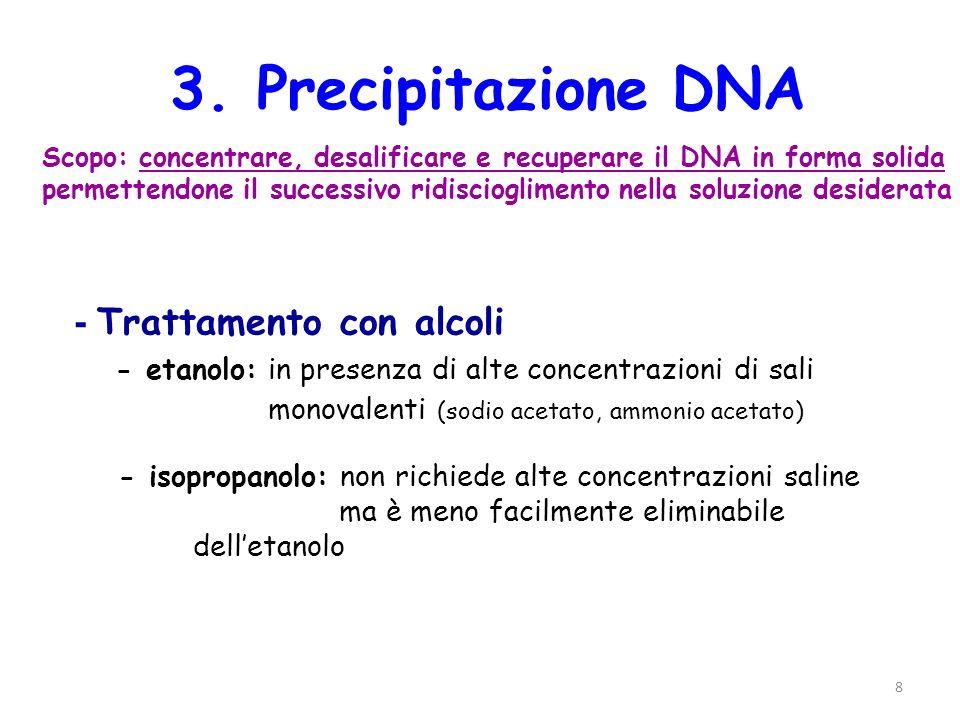 3. Precipitazione DNA - Trattamento con alcoli