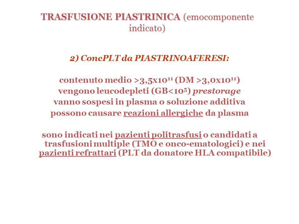 TRASFUSIONE PIASTRINICA (emocomponente indicato)