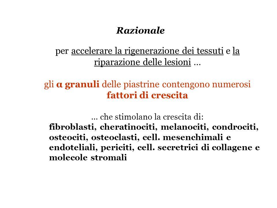 gli α granuli delle piastrine contengono numerosi fattori di crescita