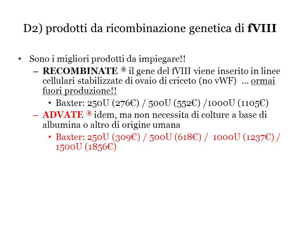 D2) prodotti da ricombinazione genetica di fVIII