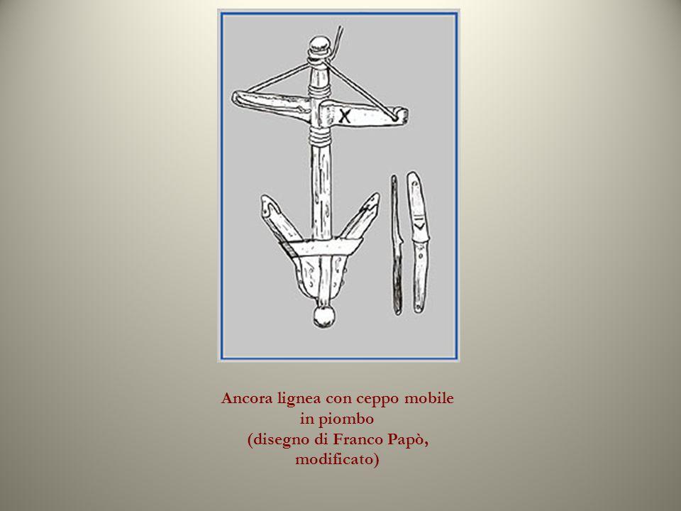 Ancora lignea con ceppo mobile in piombo (disegno di Franco Papò, modificato)