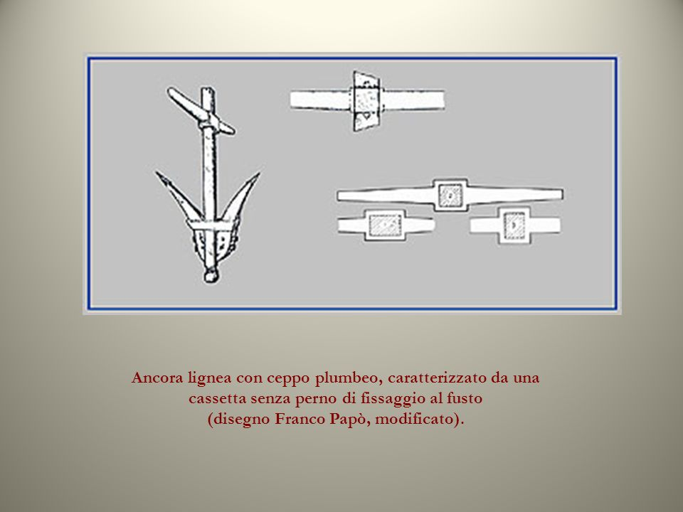 Ancora lignea con ceppo plumbeo, caratterizzato da una cassetta senza perno di fissaggio al fusto (disegno Franco Papò, modificato).