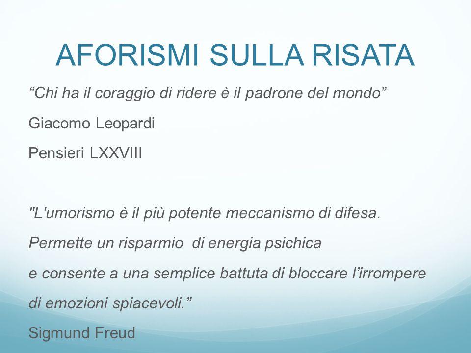 Aforismi sulla risata Chi ha il coraggio di ridere è il padrone del mondo Giacomo Leopardi. Pensieri LXXVIII.