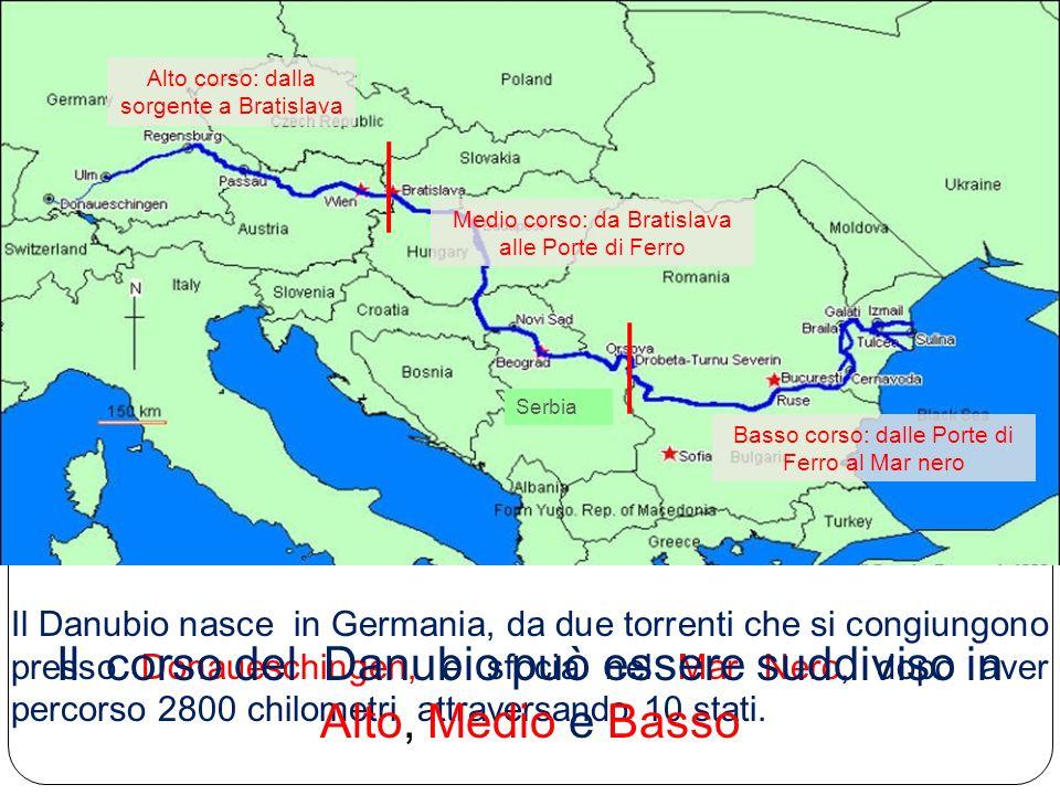 Il corso del Danubio può essere suddiviso in Alto, Medio e Basso