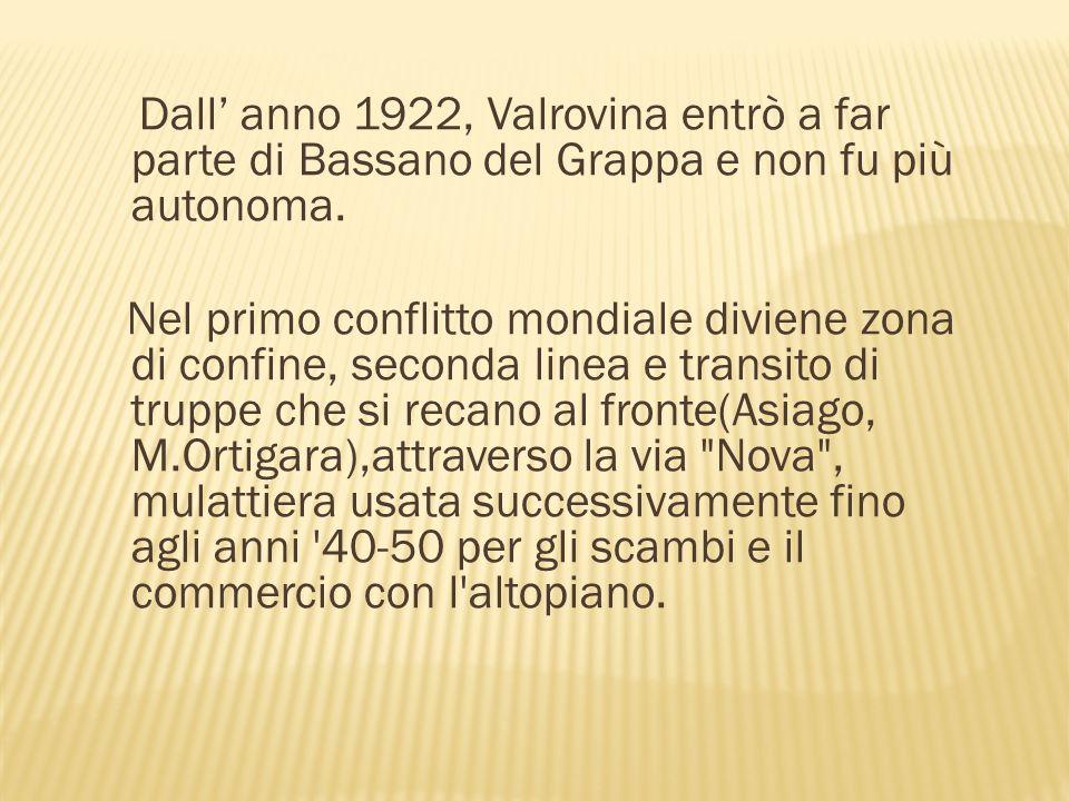 Dall' anno 1922, Valrovina entrò a far parte di Bassano del Grappa e non fu più autonoma.