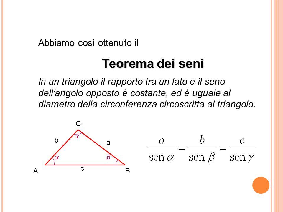 Teorema dei seni Abbiamo così ottenuto il