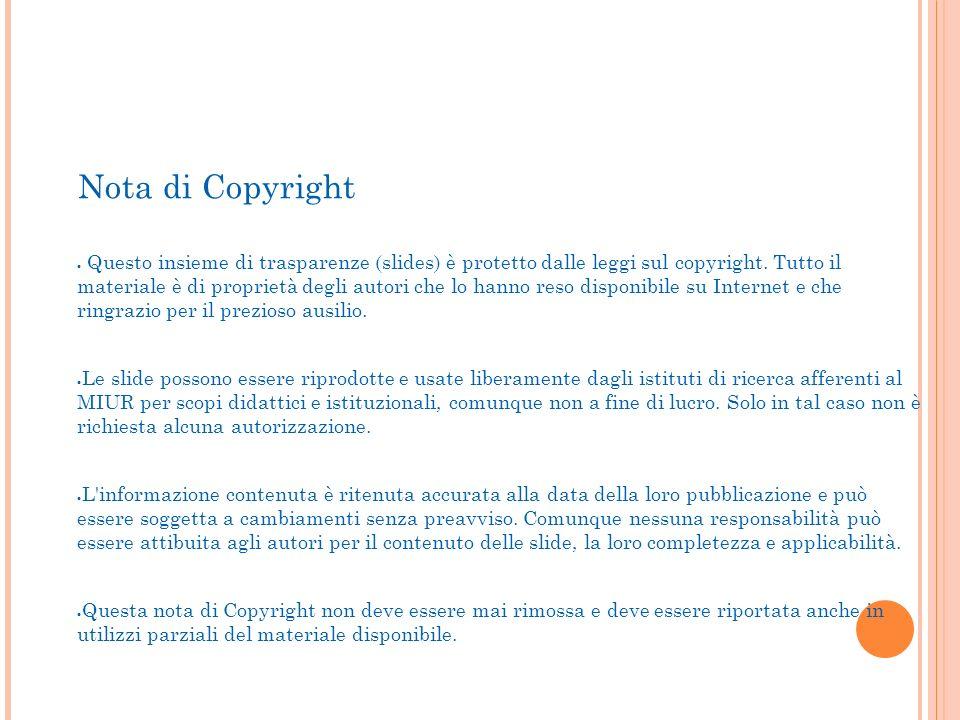 Precorso A.A. 2013/2014 Nota di Copyright