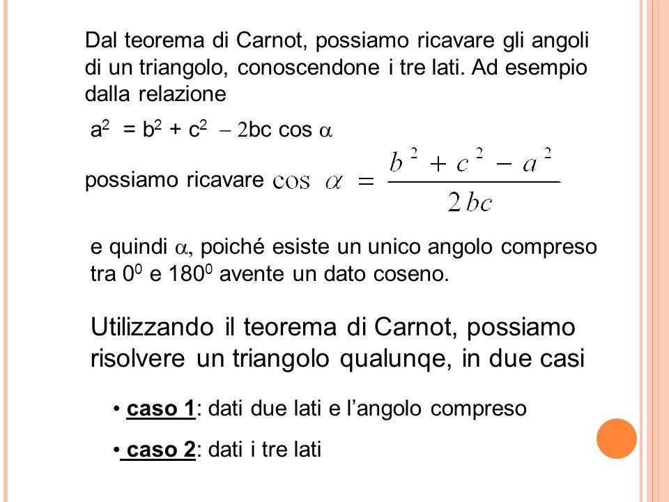 Dal teorema di Carnot, possiamo ricavare gli angoli di un triangolo, conoscendone i tre lati. Ad esempio dalla relazione