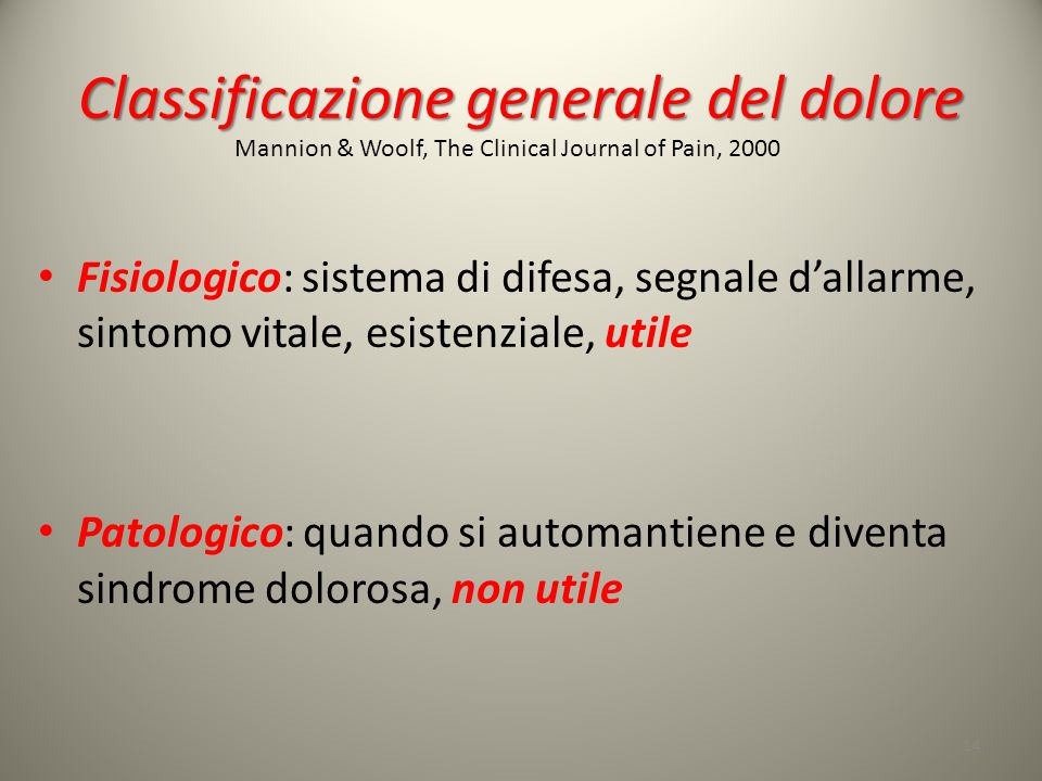 Classificazione generale del dolore