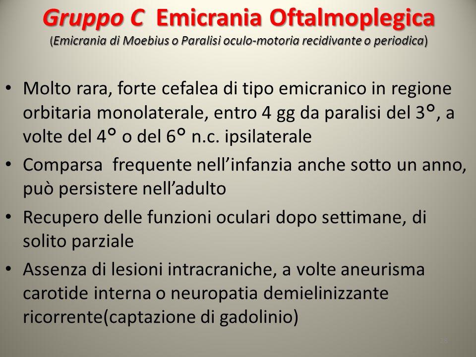 Gruppo C Emicrania Oftalmoplegica (Emicrania di Moebius o Paralisi oculo-motoria recidivante o periodica)