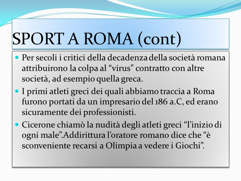 SPORT A ROMA (cont)