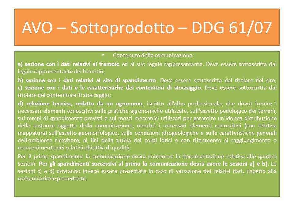 AVO – Sottoprodotto – DDG 61/07