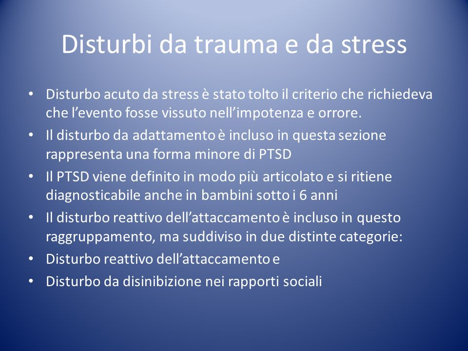 Disturbi da trauma e da stress