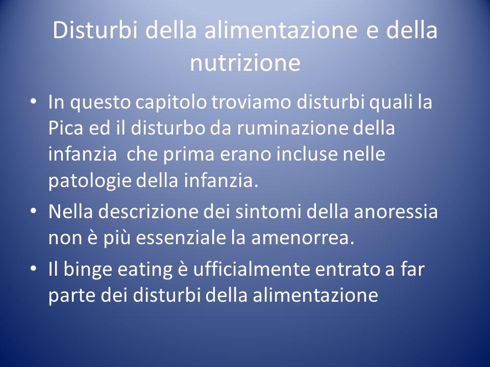 Disturbi della alimentazione e della nutrizione