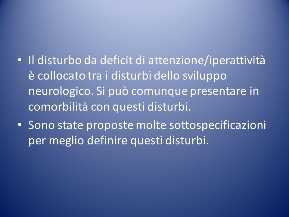 Il disturbo da deficit di attenzione/iperattività è collocato tra i disturbi dello sviluppo neurologico. Si può comunque presentare in comorbilità con questi disturbi.