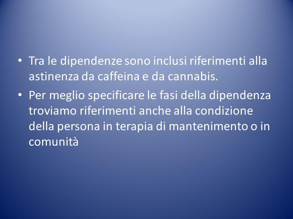 Tra le dipendenze sono inclusi riferimenti alla astinenza da caffeina e da cannabis.
