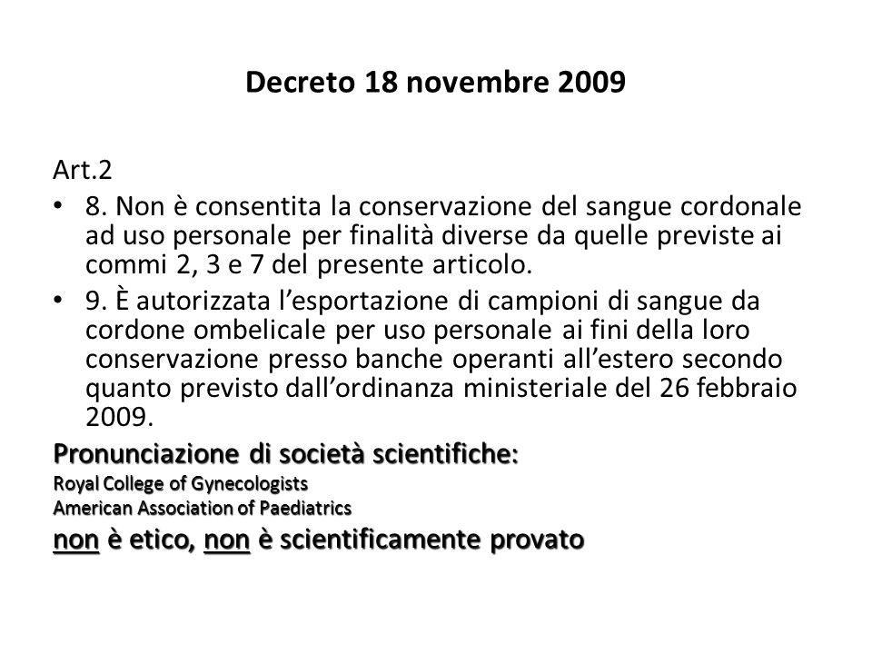 Decreto 18 novembre 2009 Art.2.