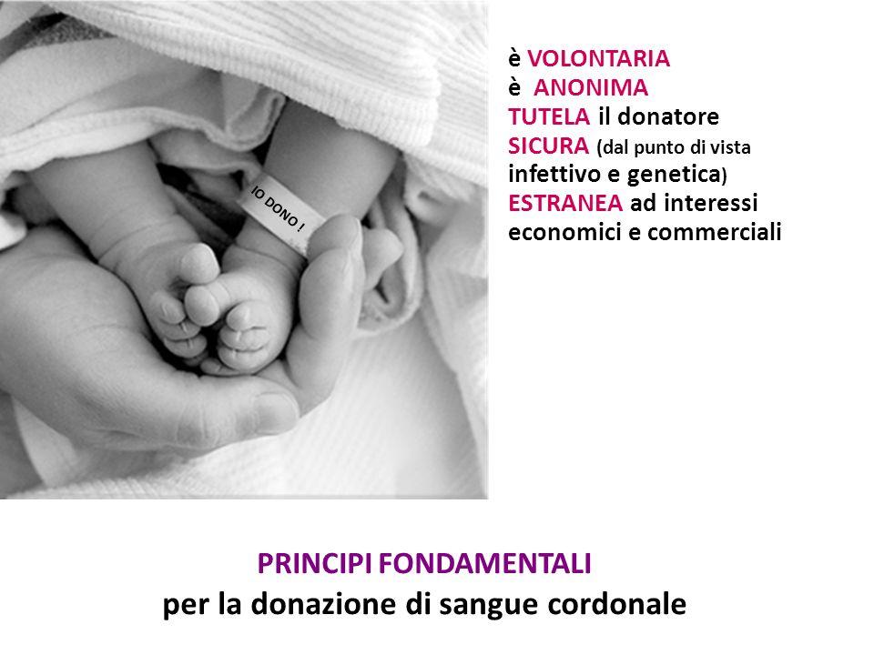 PRINCIPI FONDAMENTALI per la donazione di sangue cordonale