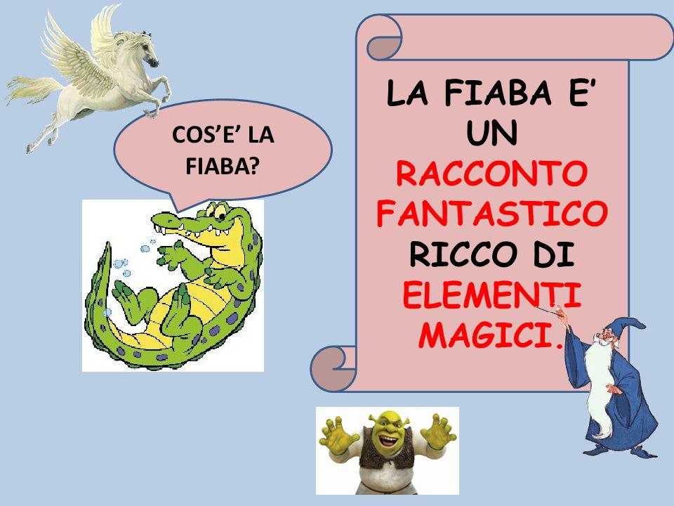 LA FIABA E' UN RACCONTO FANTASTICO RICCO DI ELEMENTI MAGICI.
