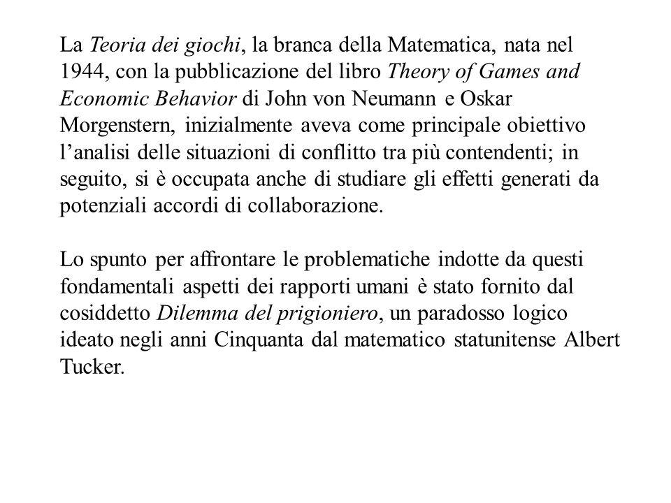 La Teoria dei giochi, la branca della Matematica, nata nel 1944, con la pubblicazione del libro Theory of Games and Economic Behavior di John von Neumann e Oskar Morgenstern, inizialmente aveva come principale obiettivo l'analisi delle situazioni di conflitto tra più contendenti; in seguito, si è occupata anche di studiare gli effetti generati da potenziali accordi di collaborazione.