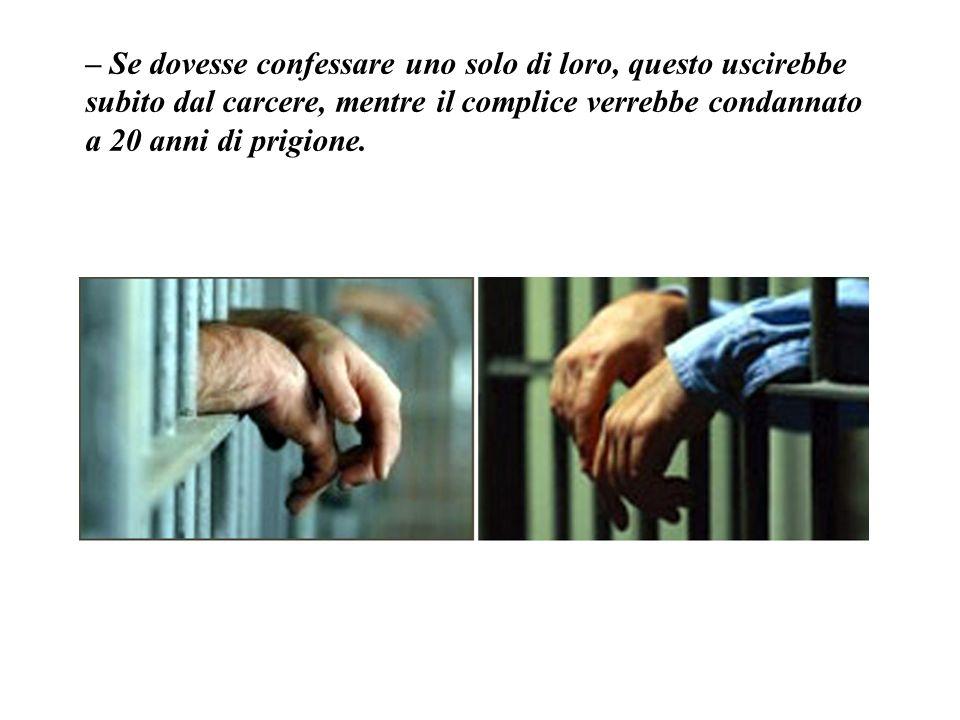 – Se dovesse confessare uno solo di loro, questo uscirebbe subito dal carcere, mentre il complice verrebbe condannato a 20 anni di prigione.