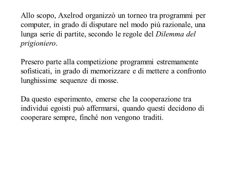 Allo scopo, Axelrod organizzò un torneo tra programmi per computer, in grado di disputare nel modo più razionale, una lunga serie di partite, secondo le regole del Dilemma del prigioniero.