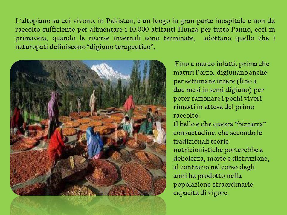 L'altopiano su cui vivono, in Pakistan, è un luogo in gran parte inospitale e non dà raccolto sufficiente per alimentare i 10.000 abitanti Hunza per tutto l'anno, così in primavera, quando le risorse invernali sono terminate, adottano quello che i naturopati definiscono digiuno terapeutico .