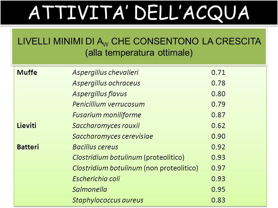 ATTIVITA' DELL'ACQUA LIVELLI MINIMI DI AW CHE CONSENTONO LA CRESCITA (alla temperatura ottimale) Muffe Aspergillus chevalieri 0.71.