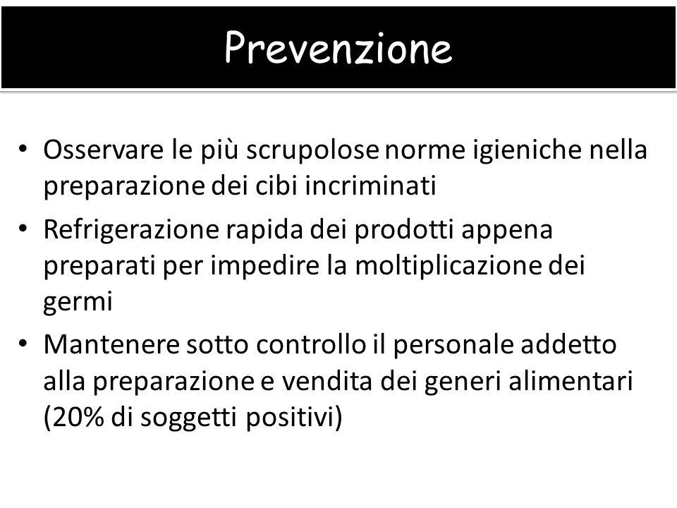 Prevenzione Osservare le più scrupolose norme igieniche nella preparazione dei cibi incriminati.