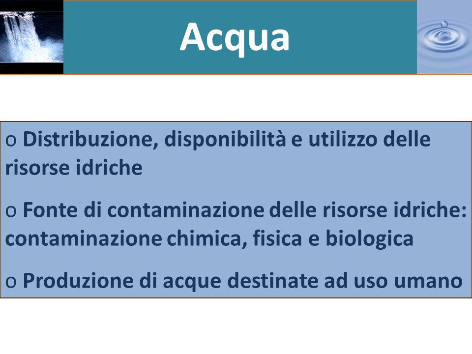 Acqua Distribuzione, disponibilità e utilizzo delle risorse idriche