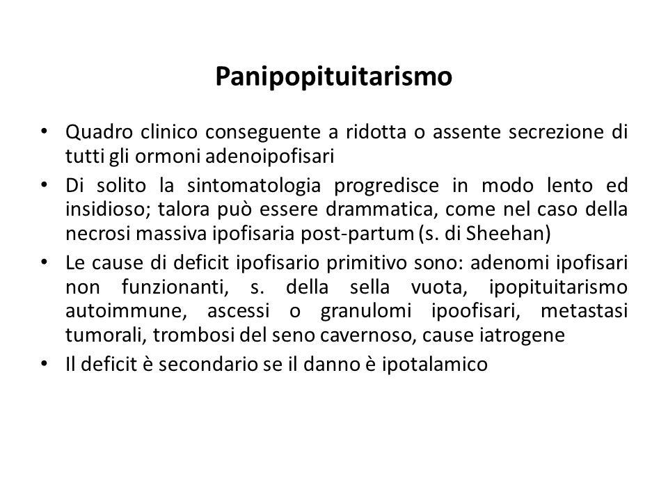 Panipopituitarismo Quadro clinico conseguente a ridotta o assente secrezione di tutti gli ormoni adenoipofisari.