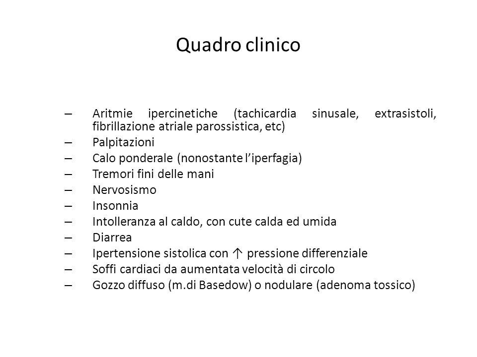 Quadro clinico Aritmie ipercinetiche (tachicardia sinusale, extrasistoli, fibrillazione atriale parossistica, etc)