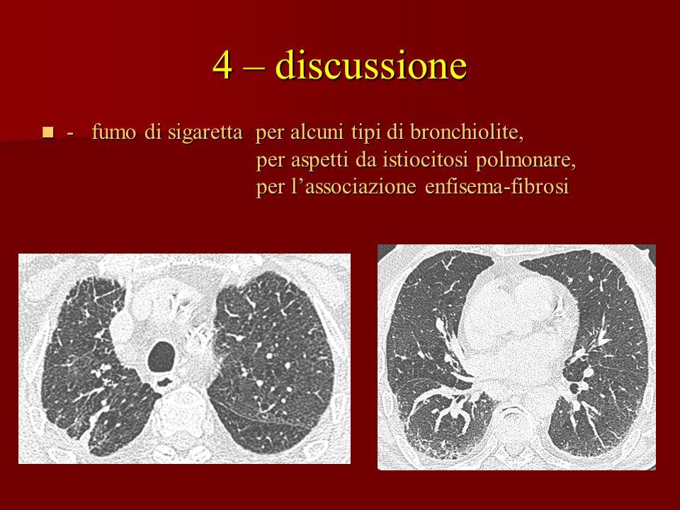 4 – discussione - fumo di sigaretta per alcuni tipi di bronchiolite,