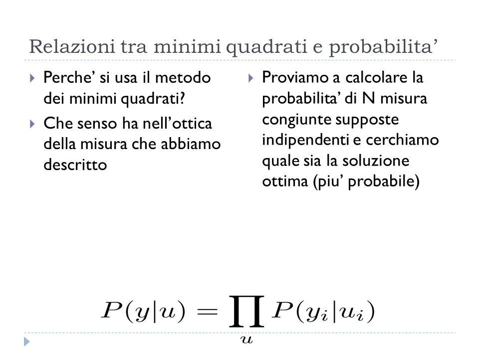 Relazioni tra minimi quadrati e probabilita'