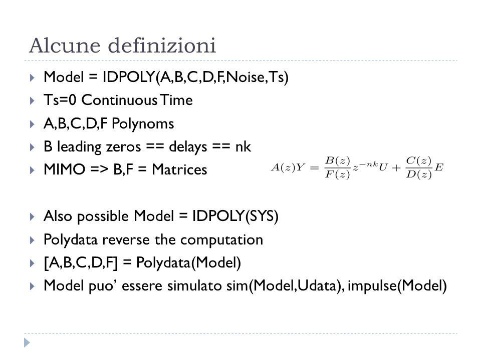 Alcune definizioni Model = IDPOLY(A,B,C,D,F,Noise,Ts)