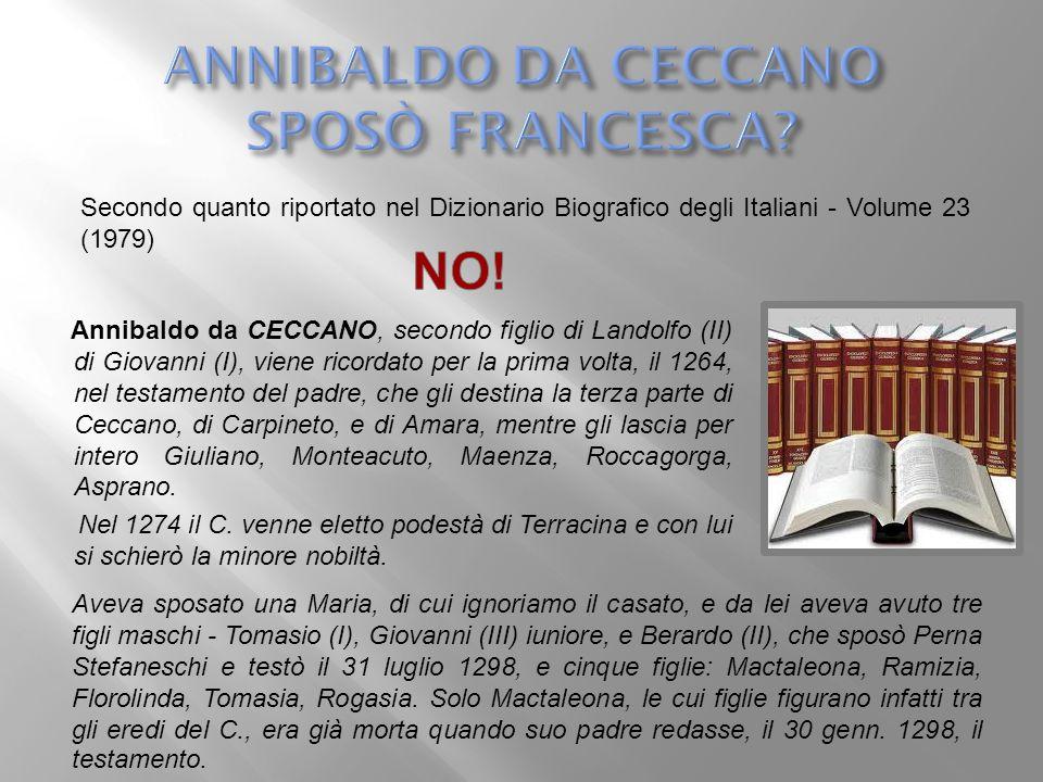 ANNIBALDO DA CECCANO SPOSÒ FRANCESCA