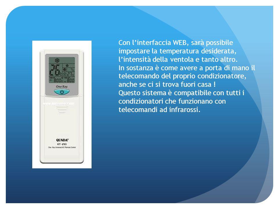 Con l'interfaccia WEB, sarà possibile impostare la temperatura desiderata, l'intensità della ventola e tanto altro.