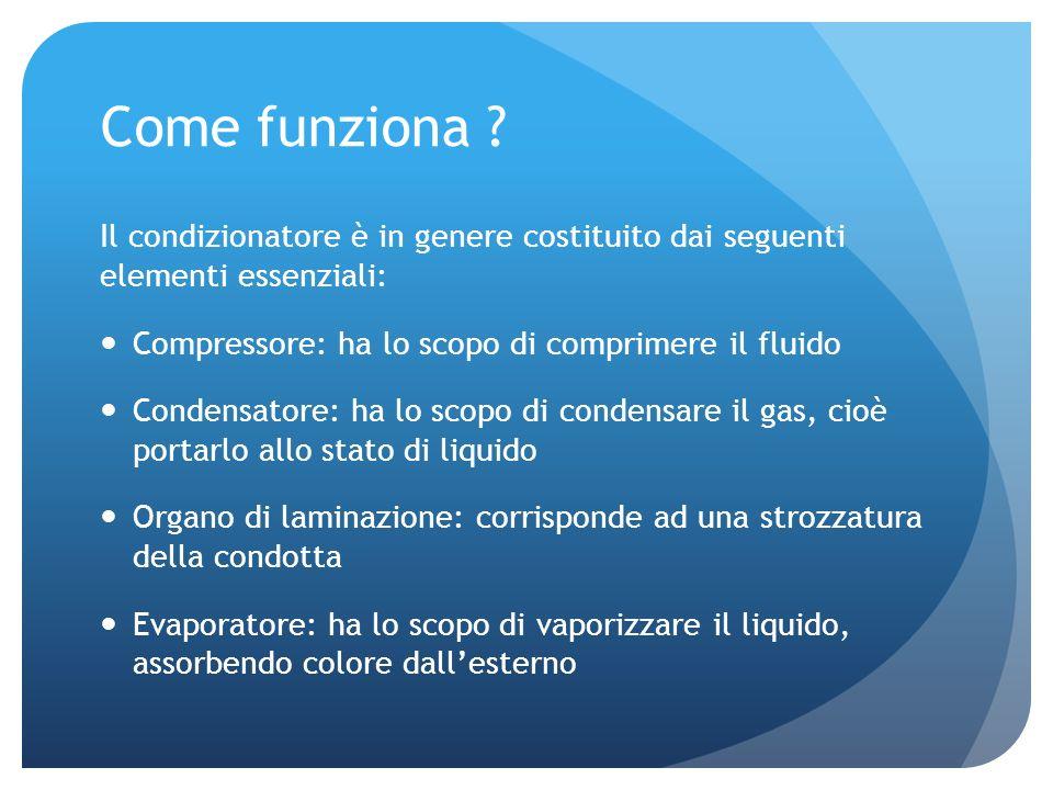 Come funziona Il condizionatore è in genere costituito dai seguenti elementi essenziali: Compressore: ha lo scopo di comprimere il fluido.